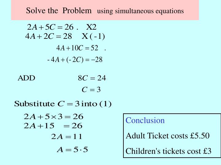 PPT - Simultaneous equations PowerPoint Presentation - ID:2951704
