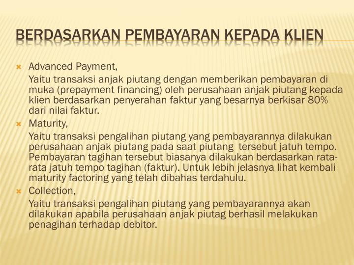 Advanced Payment,
