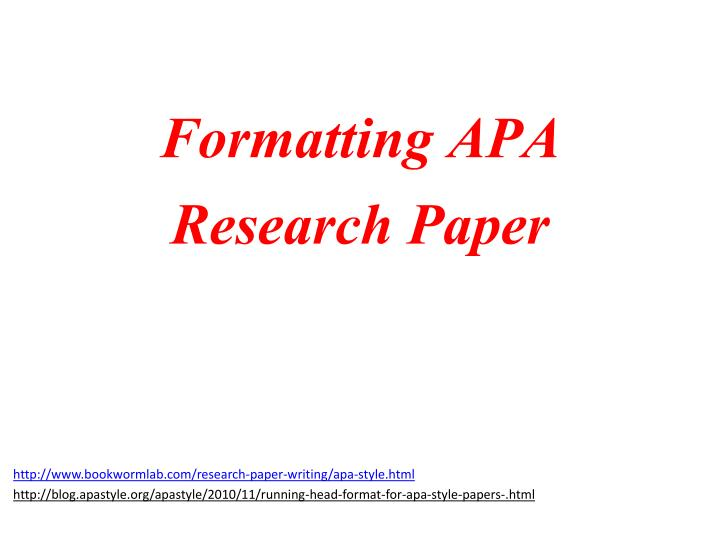formatting apa research paper n.