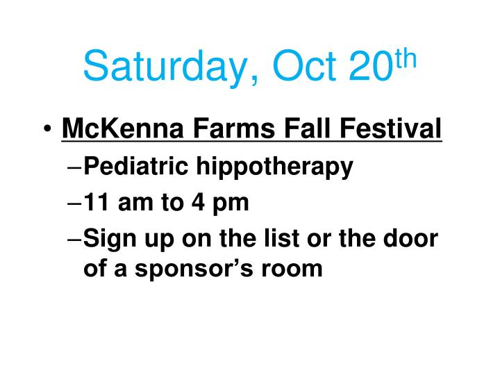 Saturday, Oct 20