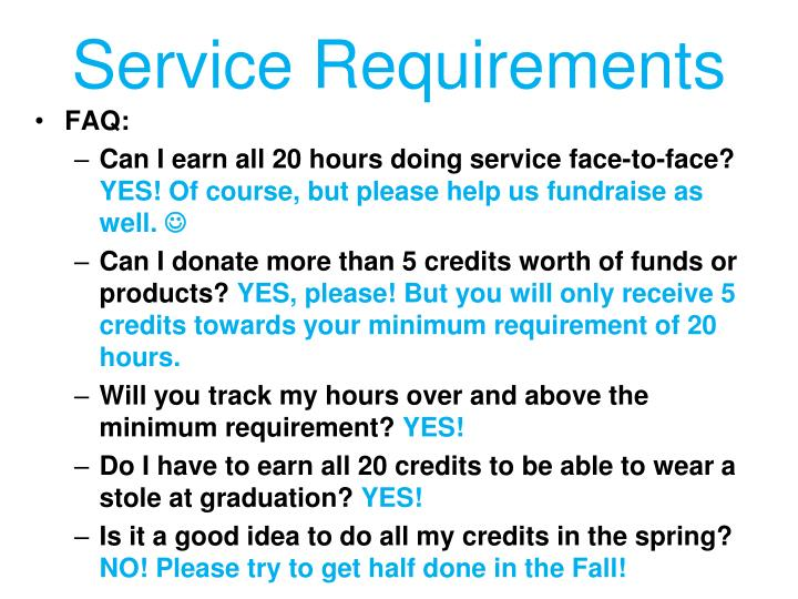 Service Requirements