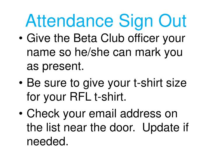 Attendance Sign Out