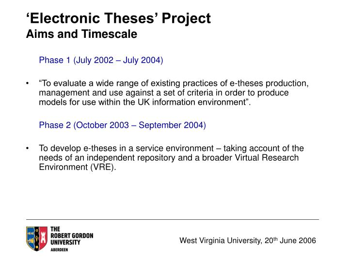 wvu electronic thesis The thesis or problem report must conform with the general wvu requirements for graduate study and with any additional requirements established by the department west virginia university requires all theses and dissertations to be submitted to wvu libraries in electronic (pdf) format.