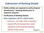 submission of banking details