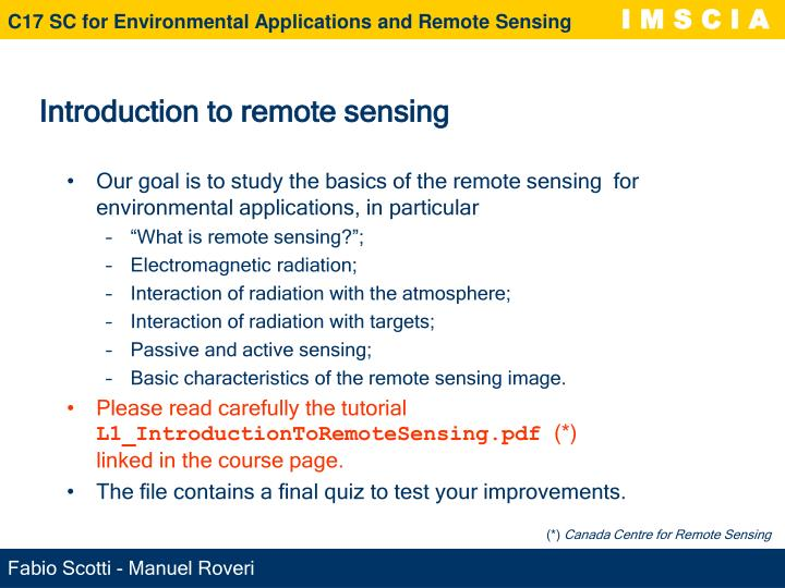 Introduction to remote sensing