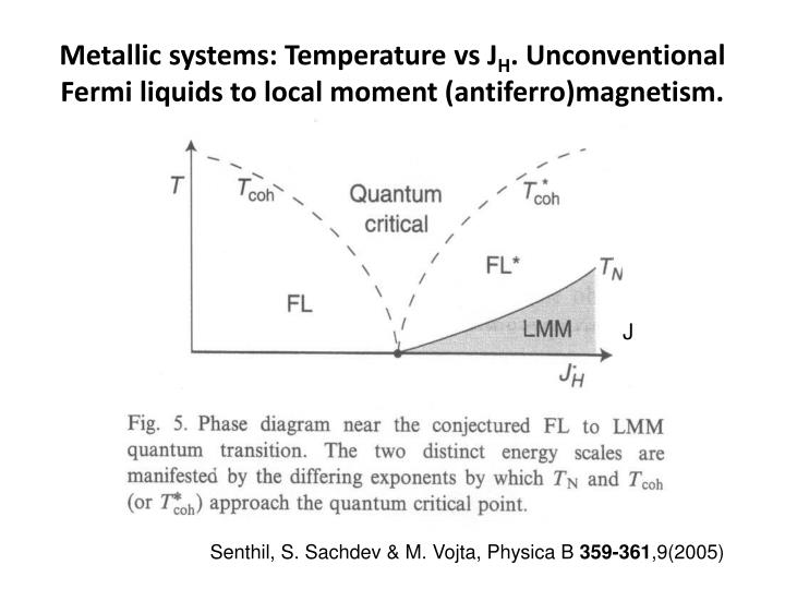 Metallic systems: Temperature vs J