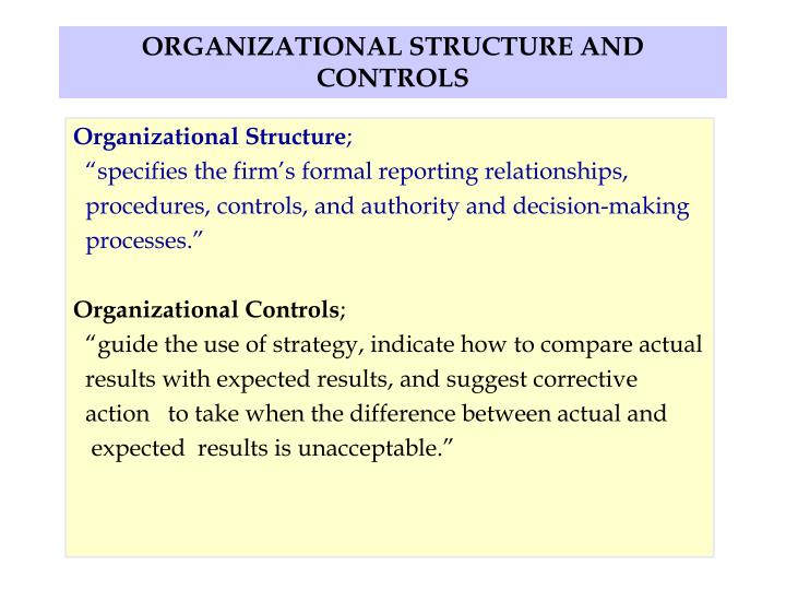 organizational structure and controls n.