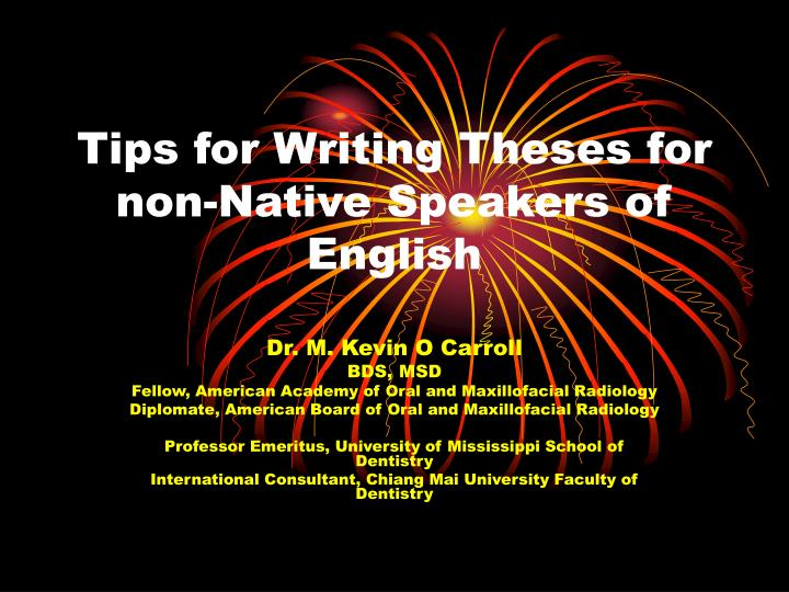 tips for writing theses for non native speakers of english n.
