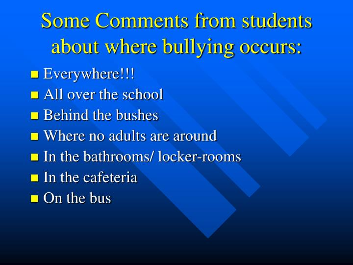 Some Comments from students about where bullying occurs: