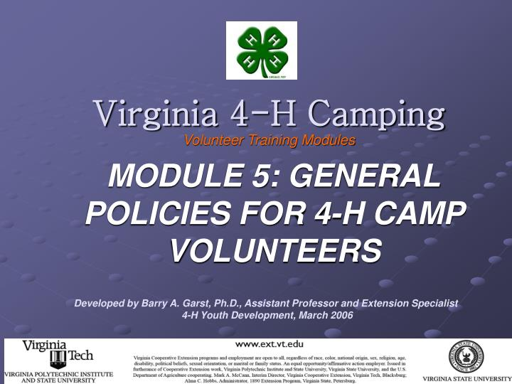 virginia 4 h camping volunteer training modules
