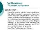pest management through crop systems