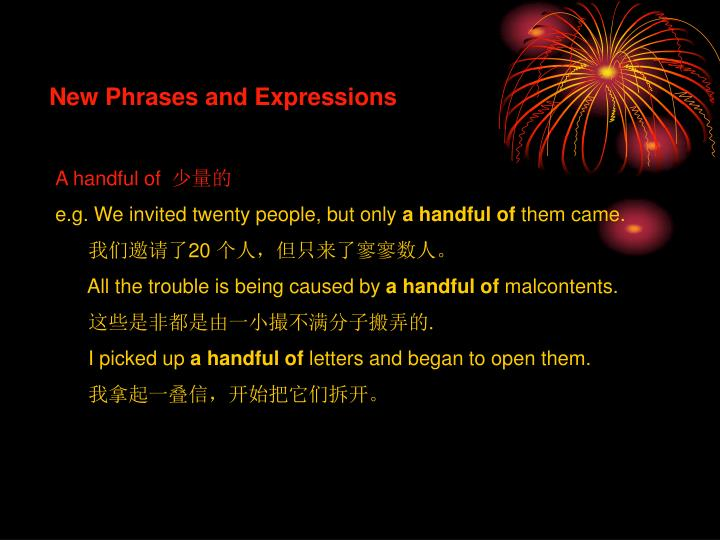 New Phrases and Expressions