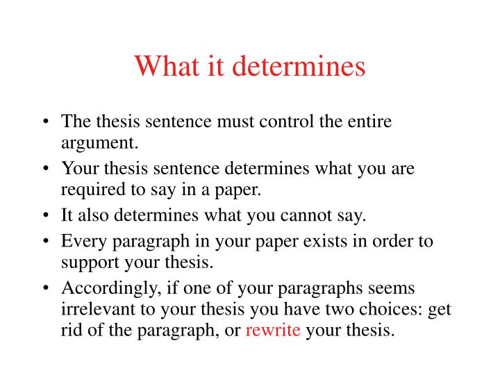 What it determines