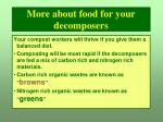 more about food for your decomposers