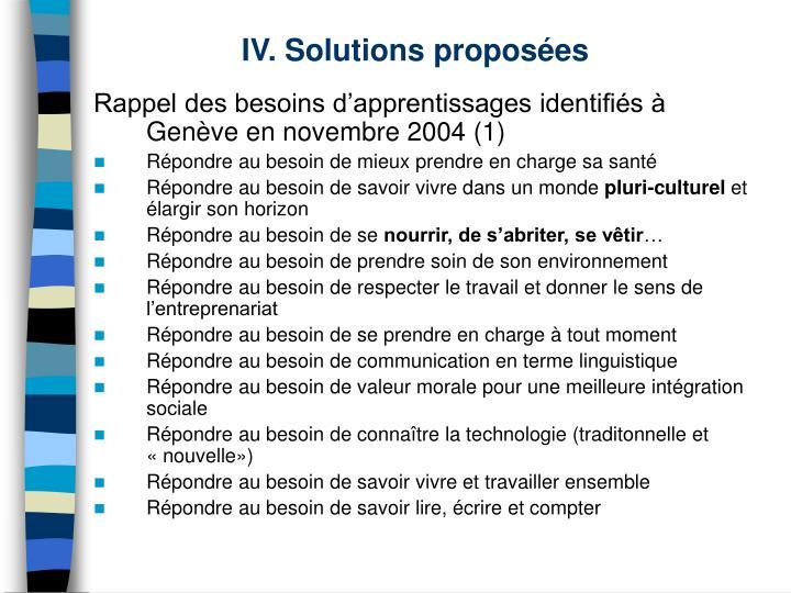 IV. Solutions proposées