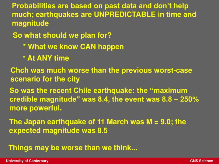 Probabilities are based on past data and don't help much; earthquakes are UNPREDICTABLE in time and magnitude