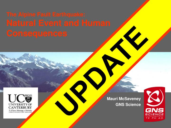 The alpine fault earthquake natural event and human consequences