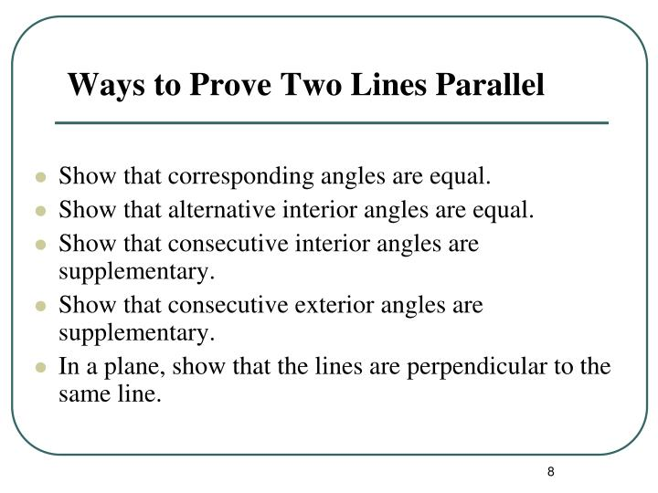 Ppt proving lines parallel powerpoint presentation id 2952871 for Consecutive exterior angles theorem