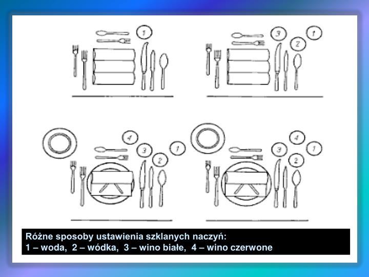 Różne sposoby ustawienia szklanych naczyń: