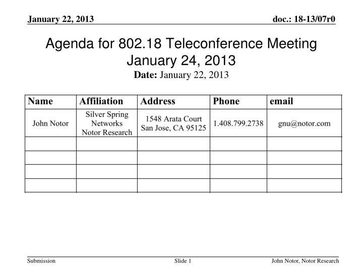 agenda for 802 18 teleconference meeting january 24 2013 n.