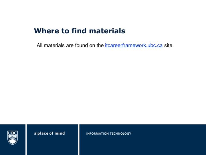 Where to find materials