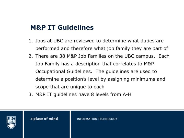 M&P IT Guidelines