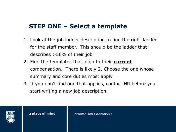 STEP ONE – Select a template