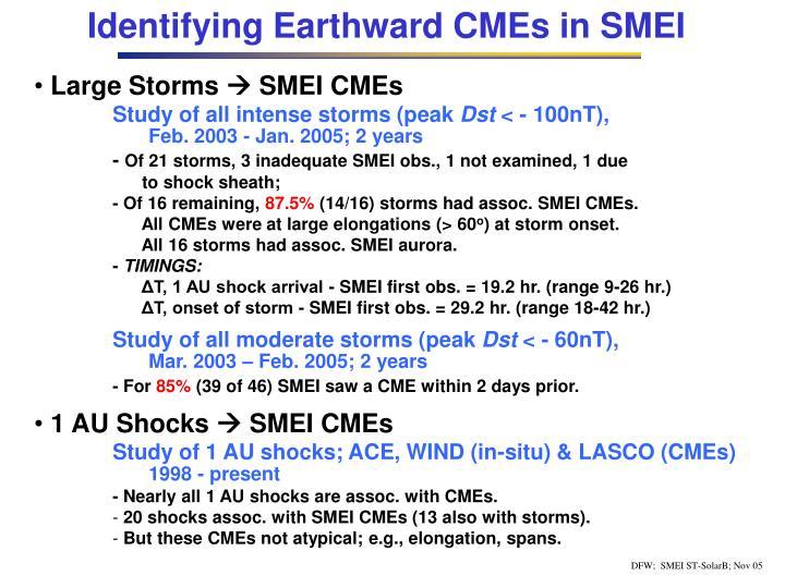 Identifying Earthward CMEs in SMEI