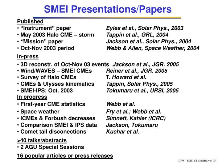 SMEI Presentations/Papers