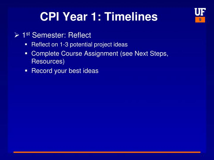 CPI Year 1: Timelines