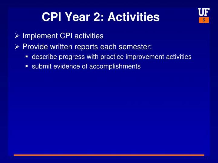CPI Year 2: Activities