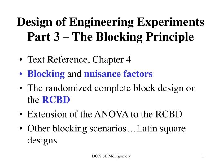 design of engineering experiments part 3 the blocking principle n.