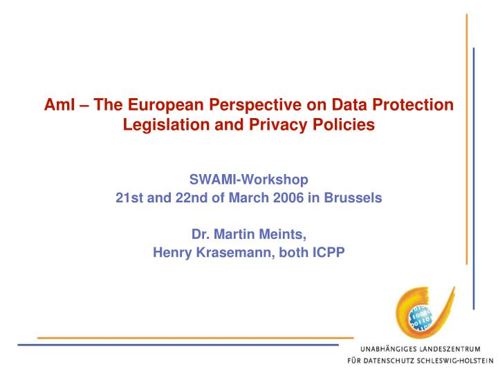 Ami the european perspective on data protection legislation and privacy policies