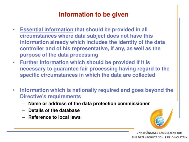 Information to be given