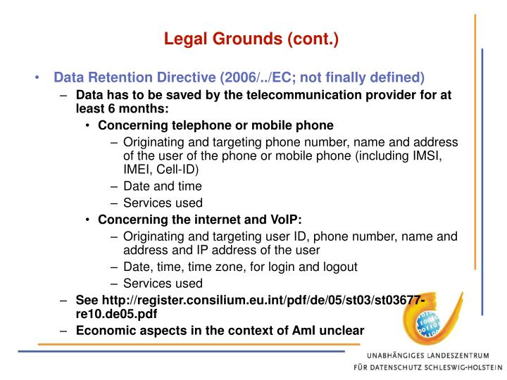 Legal Grounds (cont.)