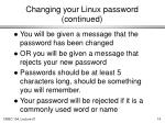 changing your linux password continued