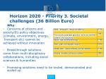 horizon 2020 priority 3 societal challenges 36 billion euro