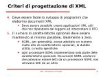 criteri di progettazione di xml2