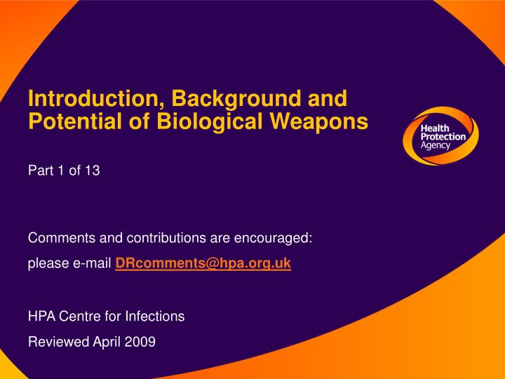 introduction background and potential of biological weapons n.