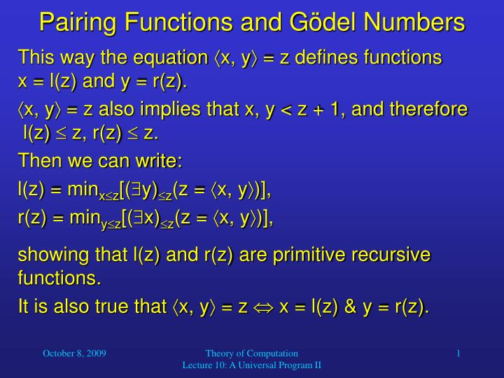 pairing functions and g del numbers n.