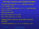 pairing functions and g del numbers