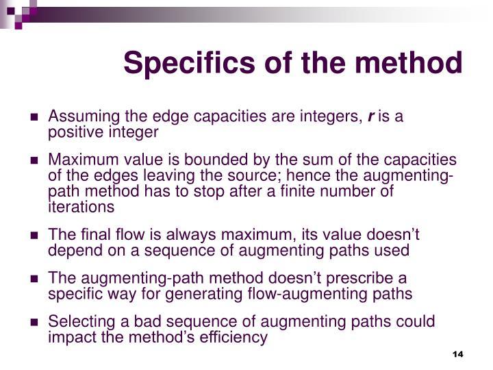 Specifics of the method