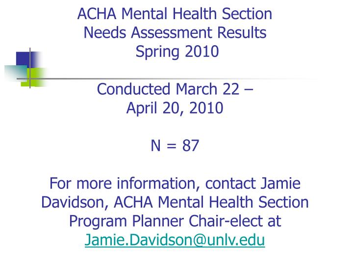 ACHA Mental Health Section