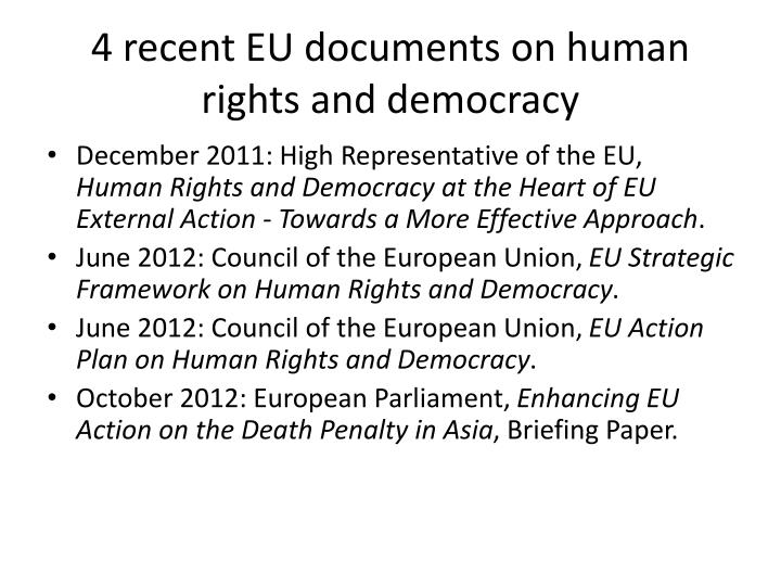 4 recent eu documents on human rights and democracy
