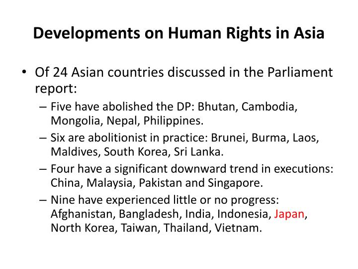 Developments on Human Rights in Asia