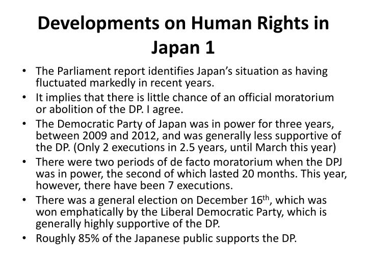 Developments on Human Rights in Japan 1