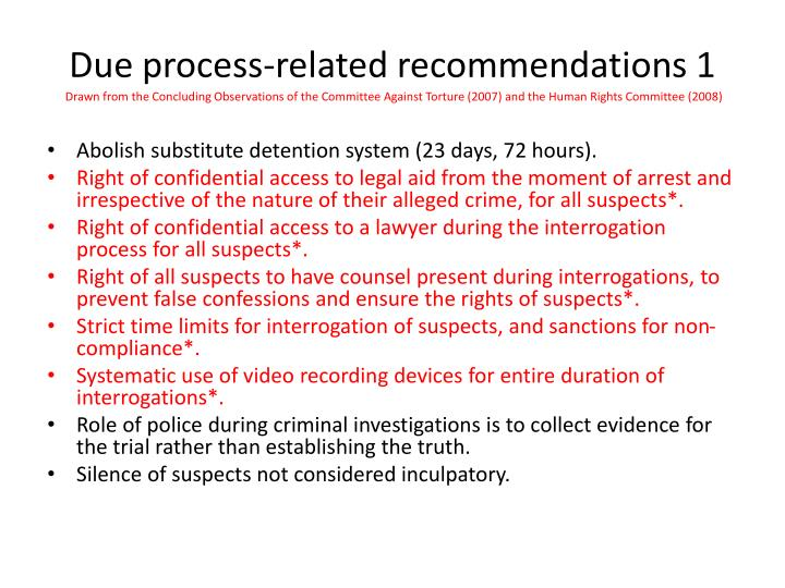 Due process-related recommendations 1