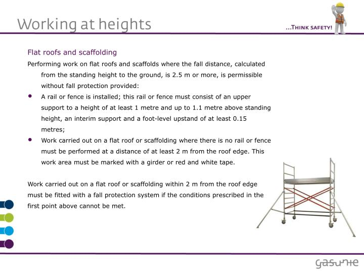 Flat roofs and scaffolding