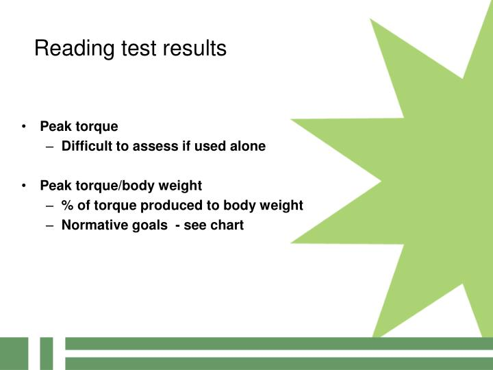 Reading test results