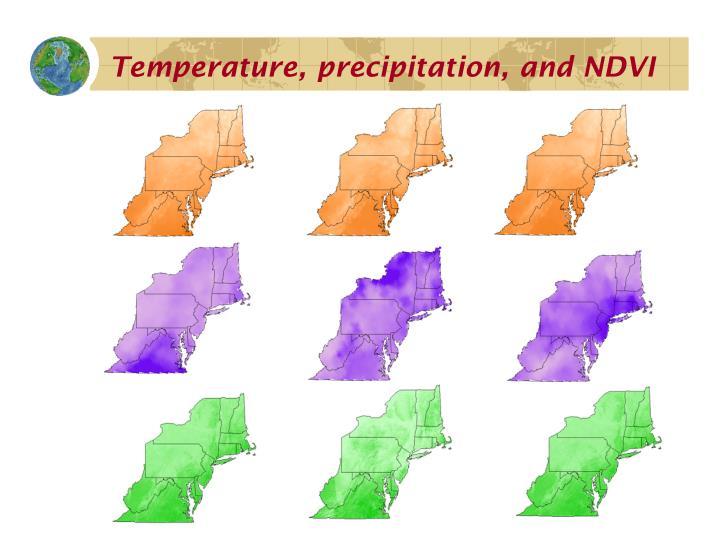 Temperature, precipitation, and NDVI